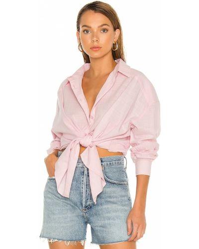 Розовая льняная рубашка в полоску Minkpink