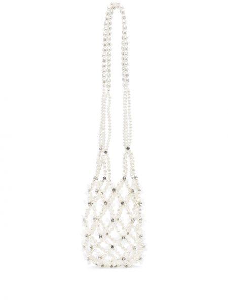 Biała torba na ramię srebrna perły Simone Rocha