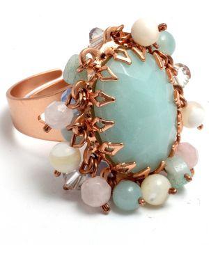 Кольцо с камнями - голубое Amaro