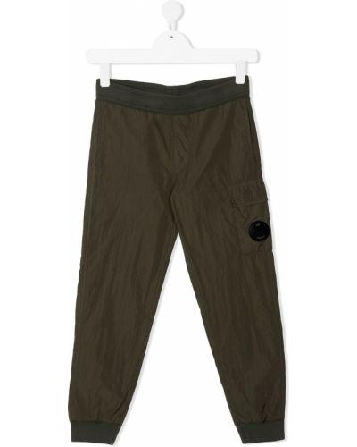 Хлопковые зеленые брюки карго с поясом Cp Company Kids