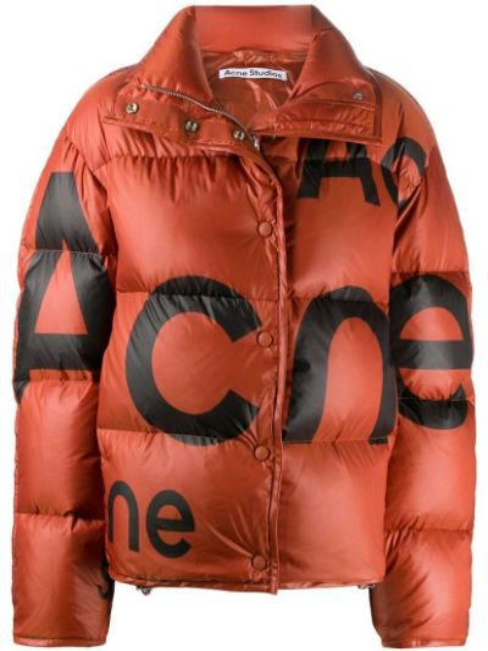 Puchaty pomarańczowy długa kurtka z długimi rękawami Acne Studios