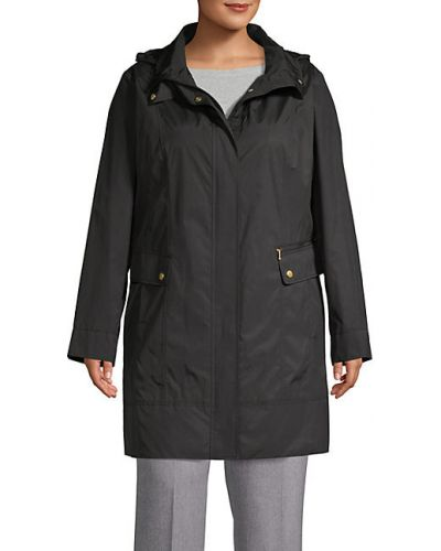 Czarna długa kurtka z kapturem z nylonu Cole Haan