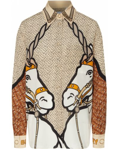 Блузка на кнопках из верблюжьей шерсти Burberry