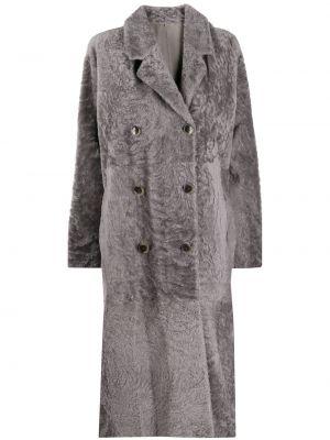 Серое кожаное длинное пальто двубортное Amen