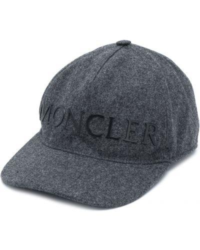 Ciemno szary z paskiem bawełna wełniany czapka z daszkiem Moncler
