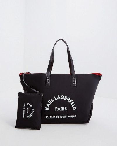 Сумка с ручками черная Karl Lagerfeld