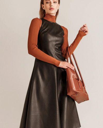 Черное кожаное платье Gepur