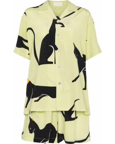 Шелковая пижама - зеленая Olivia Von Halle