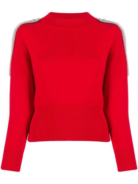Prążkowany sweter bawełniany z długimi rękawami Christopher Kane