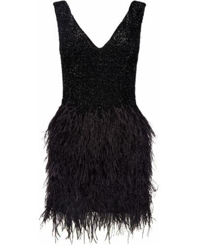 Приталенное черное платье мини с люрексом Maison Bohemique