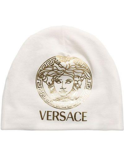 Biały kapelusz bawełniany z printem Versace