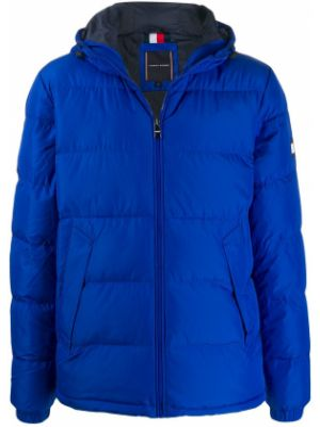 Синяя куртка с капюшоном на молнии Tommy Hilfiger