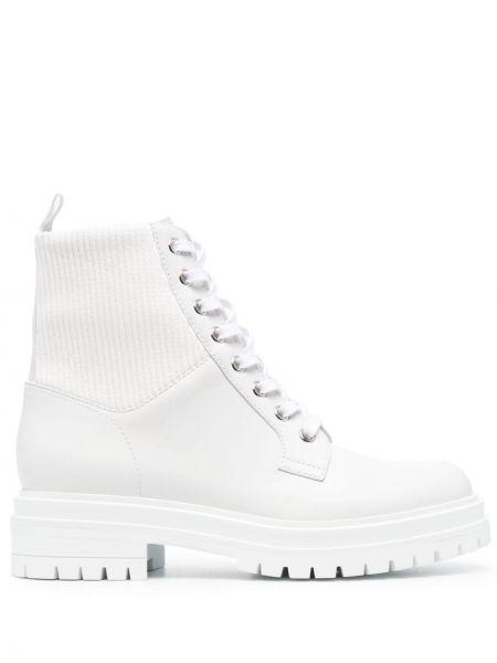 Кожаные белые носки на шнуровке Gianvito Rossi