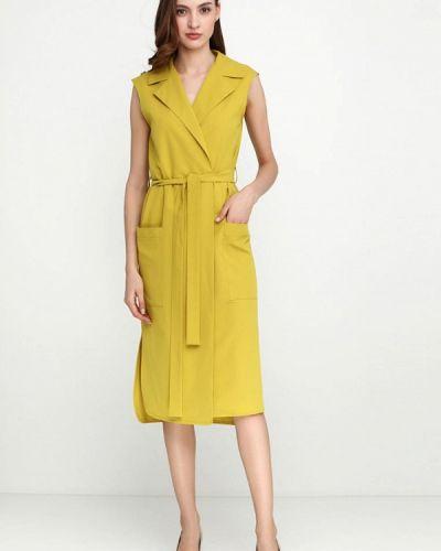 Однобортное желтое платье Escena