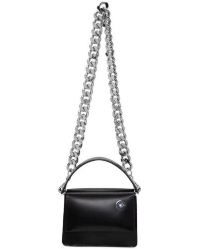 Skórzany czarny torebka na łańcuszku z kieszeniami z łatami Kara