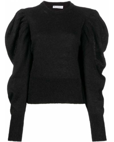 С рукавами черный джемпер из мохера с круглым вырезом Jw Anderson