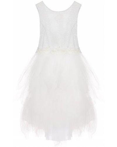 Платье с рукавами хлопковое с декоративной отделкой Aletta