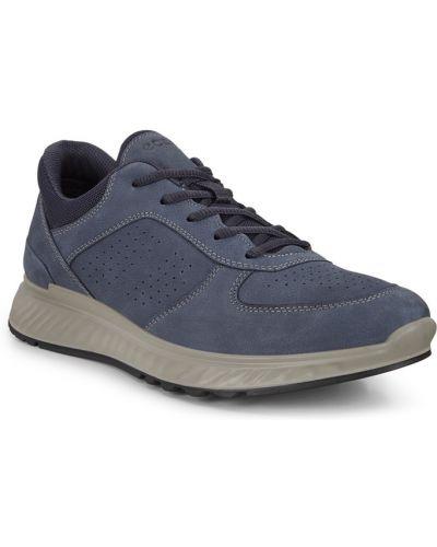 Синие кожаные кроссовки на шнурках Ecco