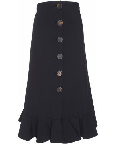 Черная юбка макси на пуговицах с оборками A.w.a.k.e.
