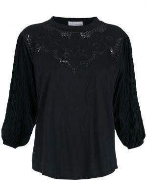 Пышная черная блузка с вышивкой НК