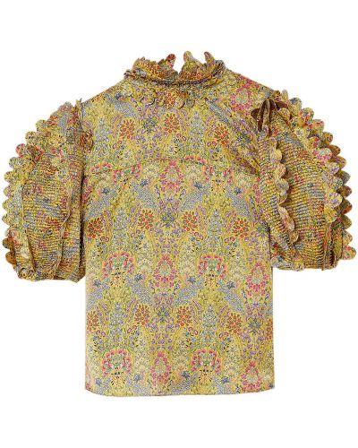 Satynowa żółta bluzka z printem Horror Vacui