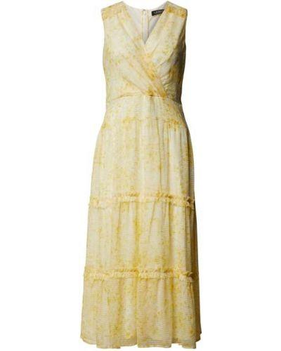 Żółta sukienka kopertowa z wiskozy Lauren Ralph Lauren