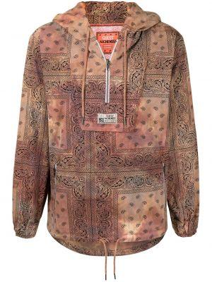 Brązowa długa kurtka z kapturem bawełniana Alchemist