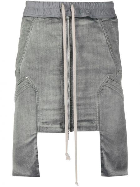 Хлопковая серая асимметричная юбка с поясом Rick Owens Drkshdw