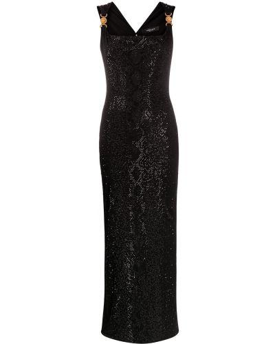 Черное платье макси с вырезом без рукавов Versace