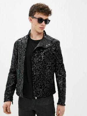 Черная кожаная куртка Emporio Armani