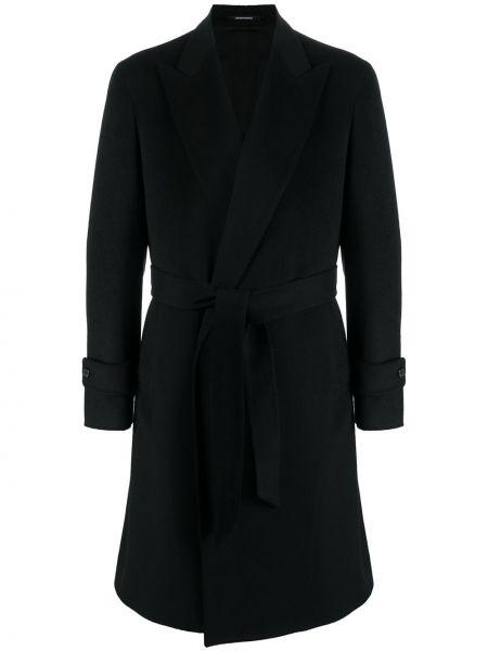 Wełniany długo płaszcz prążkowany z klapami zapinane na guziki Pino Lerario