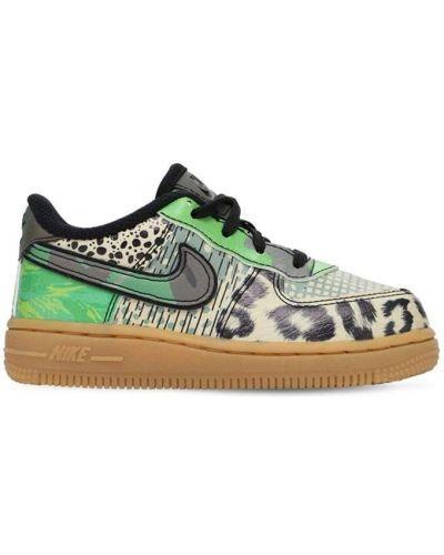 Ażurowy skórzany czarny sneakersy na sznurowadłach Nike