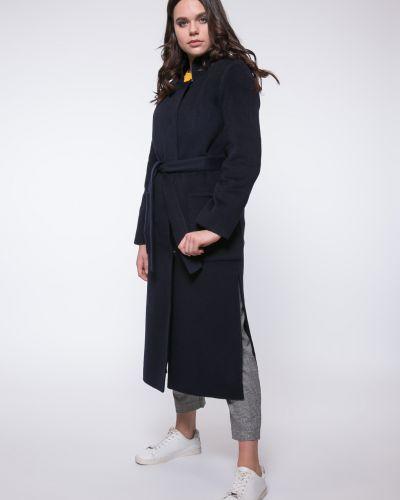 Синее шерстяное пальто с воротником каляев