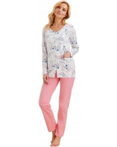 Różowa piżama bawełniana z długimi rękawami Taro