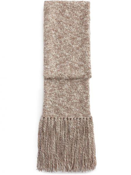 Бежевый шерстяной шарф с бахромой Dolce & Gabbana