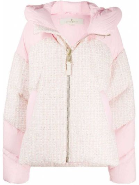 Розовая дутая куртка твидовая с перьями Nicole Benisti