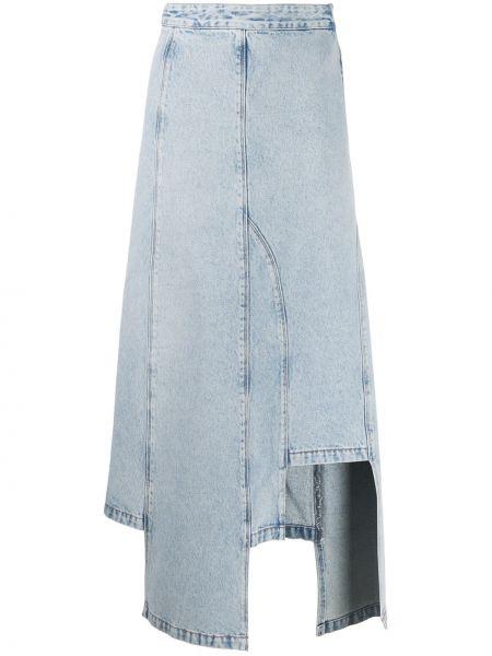 Синяя асимметричная юбка миди в рубчик с поясом Ssheena