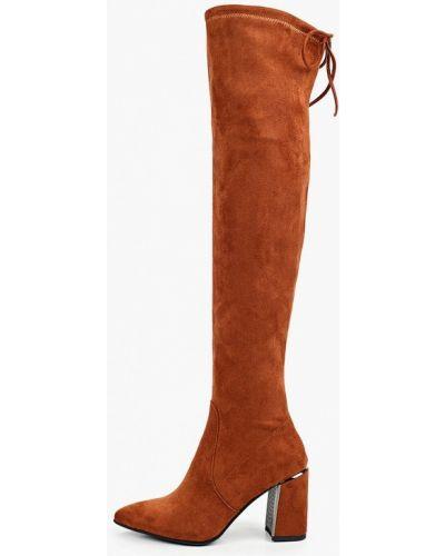 Велюровые коричневые ботфорты Diora.rim