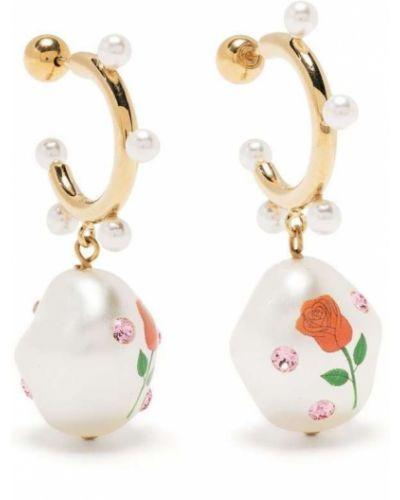 Złote kolczyki sztyfty perły Saf Safu