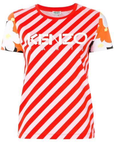 Футболка в полоску с цветочным принтом прямая Kenzo