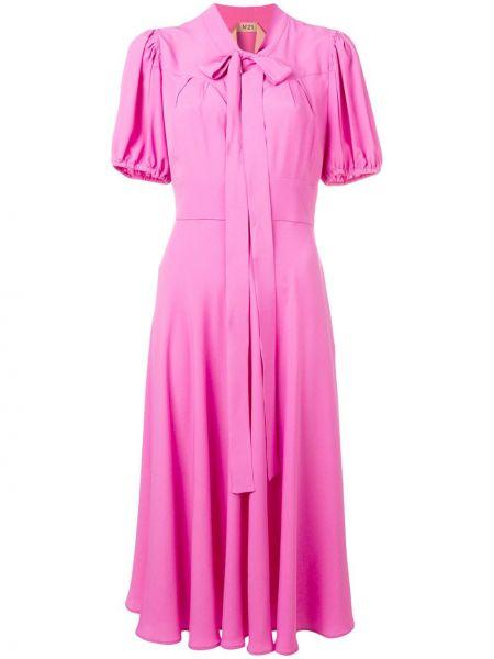 Шелковое плиссированное розовое платье миди с воротником N21
