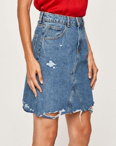Прямая синяя джинсовая юбка с поясом на пуговицах Noisy May