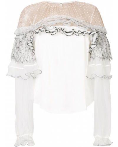 Белая кружевная блузка Self-portrait