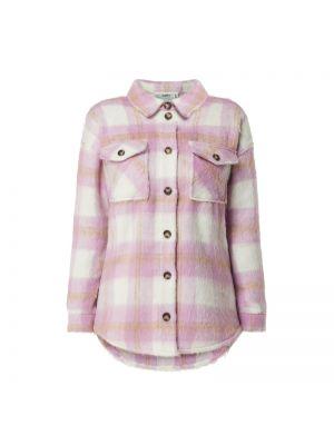 Różowa kurtka wełniana w kratę Moves