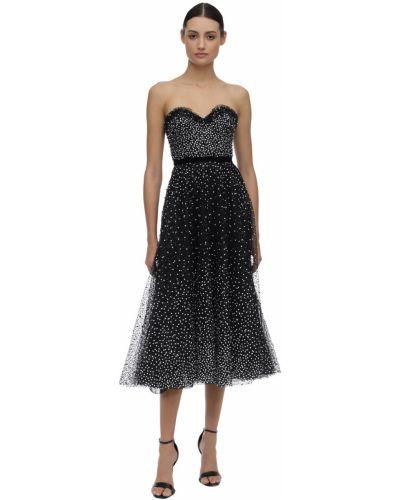 Платье с поясом из фатина с пайетками Marchesa