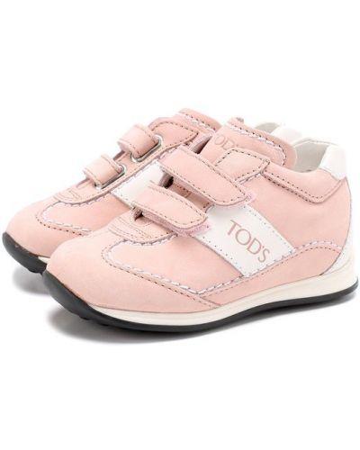 Кожаные кроссовки розовый с логотипом Tods