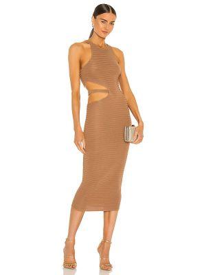 Коричневое текстильное платье миди Michael Costello