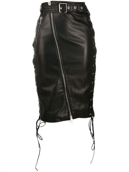 Черная кожаная юбка карандаш на молнии Manokhi