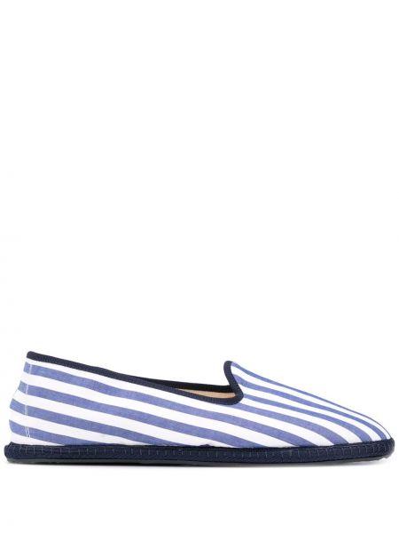 Białe loafers płaska podeszwa bawełniane Vibi Venezia