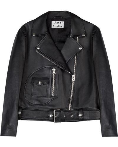 Кожаная куртка черная байкерская Acne Studios